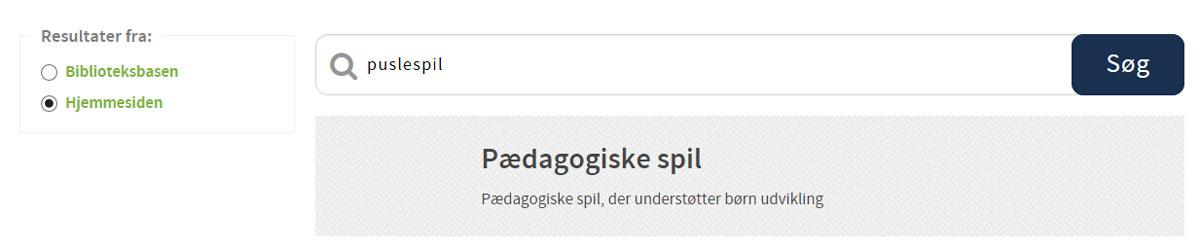 Søgeresultat - hjemmeside